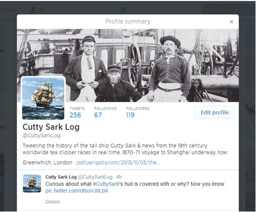 Follow Cutty Sark Log on Twitter!