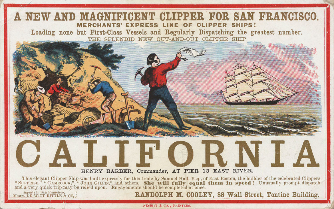 Card Advertising the a Clipper Ship bound for San Francisco